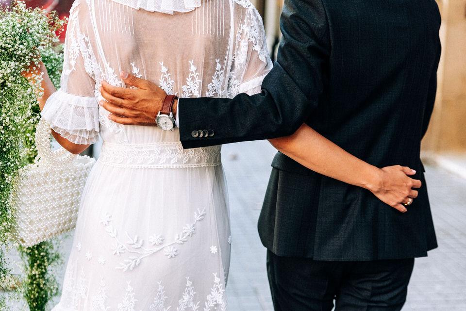 Un vestido de encaje antiguo para una novia chic