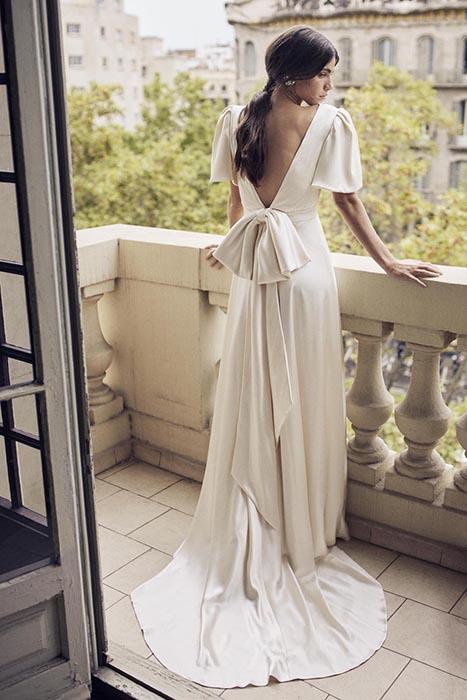 Vestido de novia vintage manga abullonada