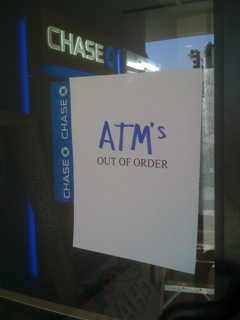 Chase Bank Larchmont ATMs out of order