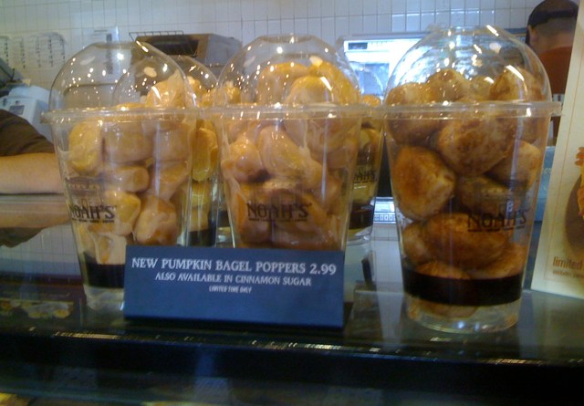 Pumpkin Bagel Poppers at Noah's in Larchmont