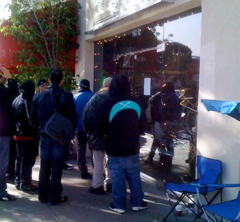 Line for Air Jordan XI at Kicks in Larchmont Village
