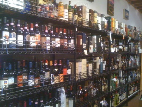 Liquor bottles in Larchmont Village shop