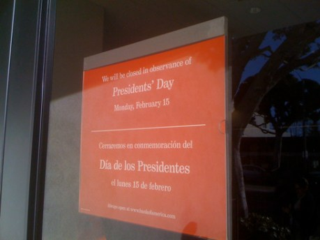 Bank of America on Presidents Day
