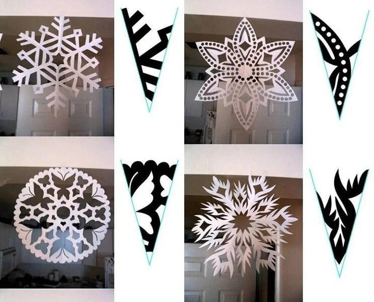 新年美丽的原始雪花:创建自己的手,模板与照片32 33