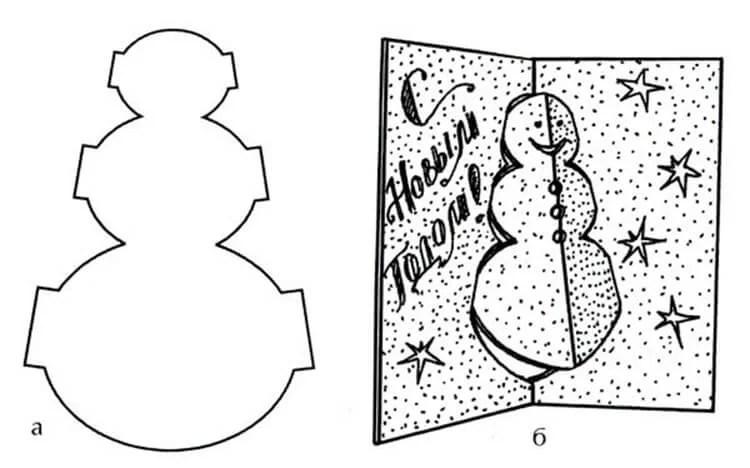 کارت پستال برای سال جدید با دستان خود: صنایع دستی ساده و اصلی در مهد کودک و مدرسه Novogodnyaya otkrytka Svoimi Rukami 98