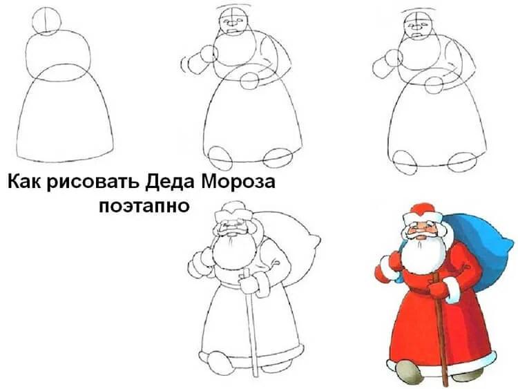 크리스마스 주제용 도면 : 새해에 그려 질 수있는 것은 무엇인가 Risunki Novodnodnyuyu Temu 44