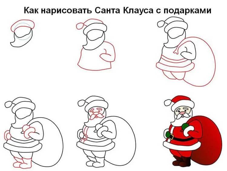 Dessins pour sujets de Noël: Que peut-on tirer sur la nouvelle année Risunki Na Novogodnyuyu Temu 45