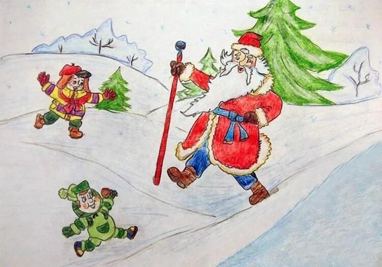 크리스마스 주제를위한 그림 : 새해에 그려 졌을 수있는 risunki novodnyuyu temu 60