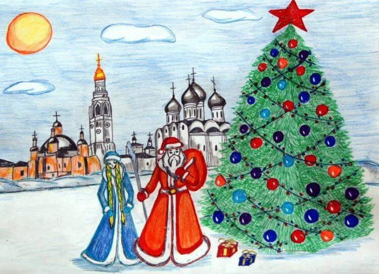 크리스마스 주제용 도면 : 새해에 그려진 것은 risunki novodnyuyu temu 65