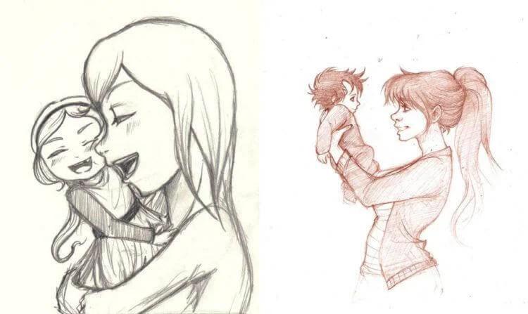 Anneler Günü için Çocuk Çizimleri: Paper'da Anne İçin Sevginizi Express Risunok Na Den Materi 67