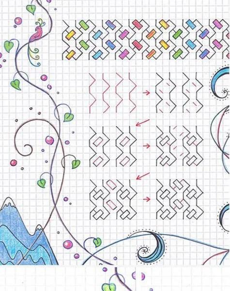 Vackra och enkla teckningar på celler i anteckningsböcker för nybörjare Graficheskie Risunki Po Kletochkam 58