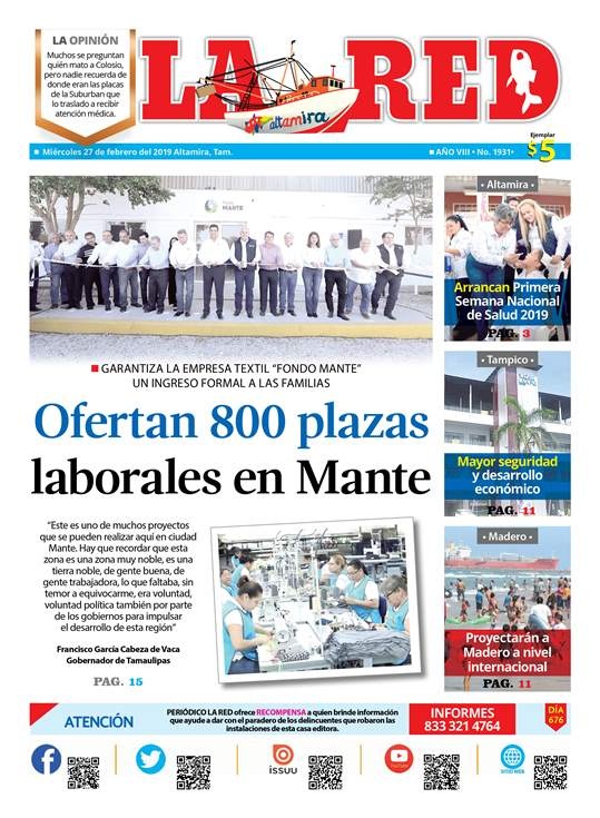 Ofertan 800 plazas laborales en Mante