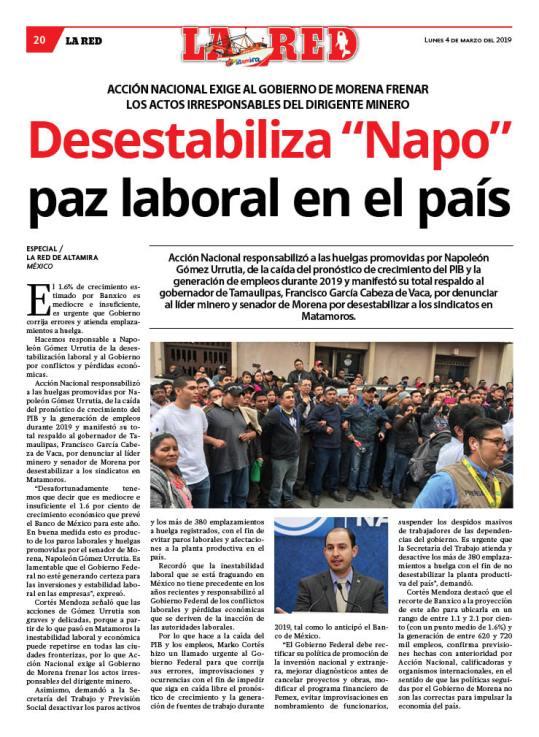 """Desestabiliza """"Napo"""" paz laboral en el país"""