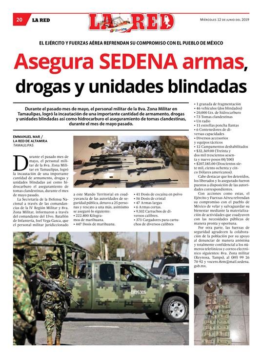 Asegura SEDENA armas, drogas y unidades blindadas