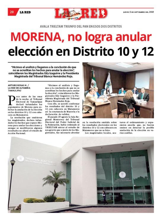MORENA no logra anular elección en Distrito 10 y 12
