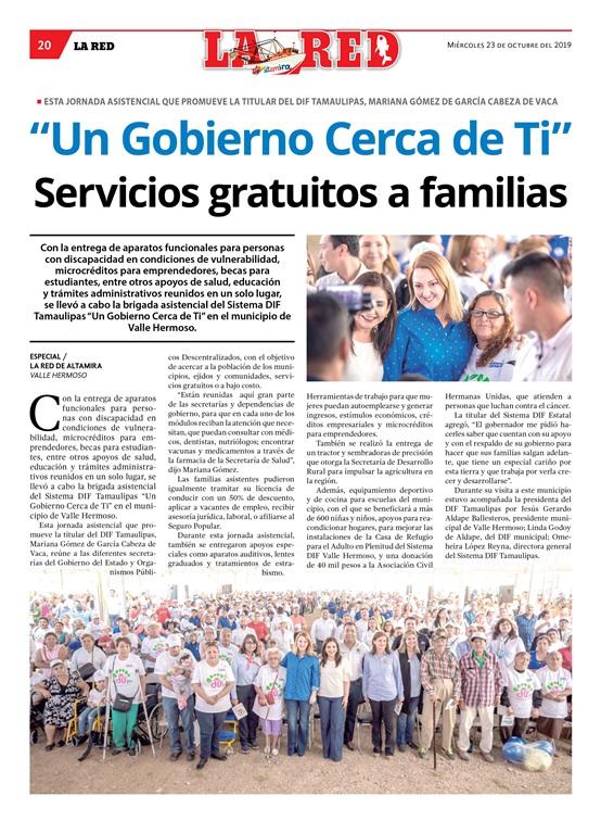 """Un Gobierno Cerca de Ti"" Servicios gratuitos a familias"