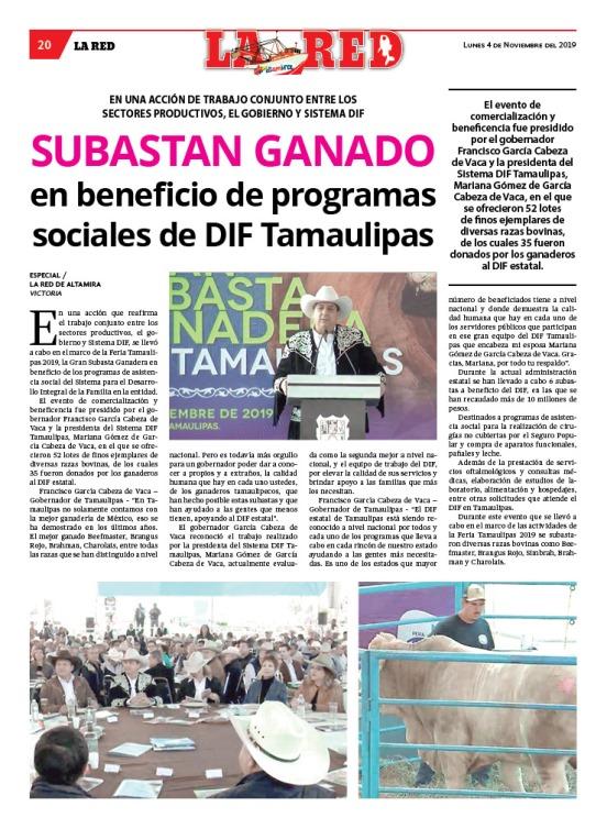 Subastan ganado en beneficio de programas sociales de DIF Tamaulipas