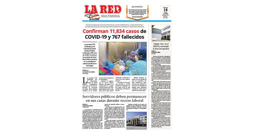 Confirman 11,834 casos de COVID-19 y 767 fallecidos