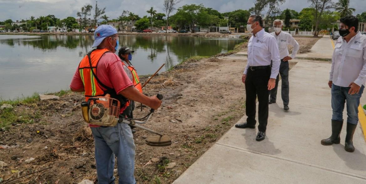 Aceleran mantenimiento de calles y lagunas del municipio