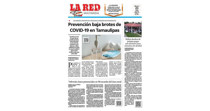 Prevención baja brotes de COVID-19 en Tamaulipas
