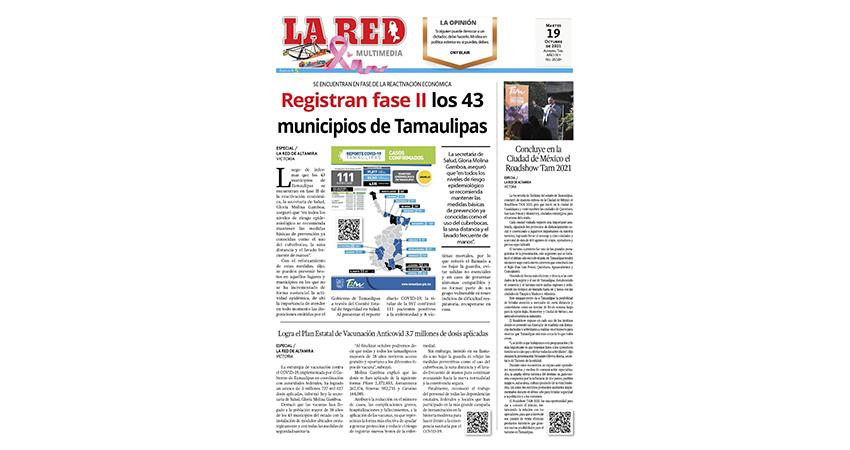 Registran fase II los 43 municipios de Tamaulipas