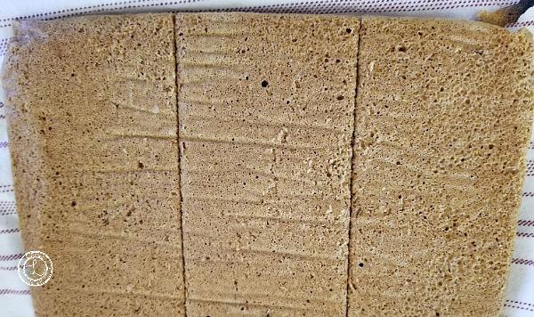 Gluten-Free Pumpkin Cranberry Tier Cake cut in thirds