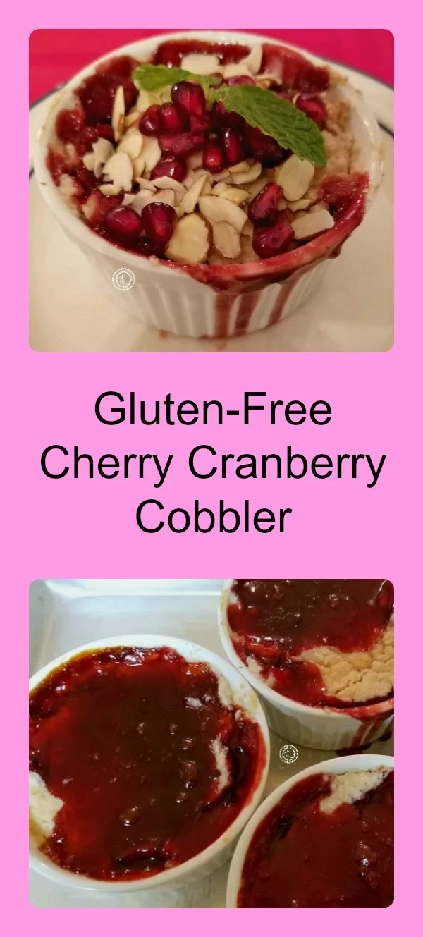 Gluten-Free, Refined Sugar-Free, Grain-Free Cherry Cranberry Cobbler with pomegranates adding a sweet and tart flavor. Perfect for any occasion or holiday.