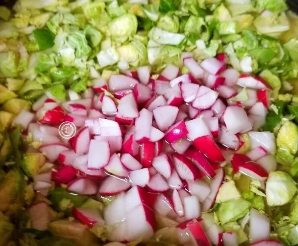 Chicken Cabbage Radish Soup radishes, cabbage and Brussel Sprouts