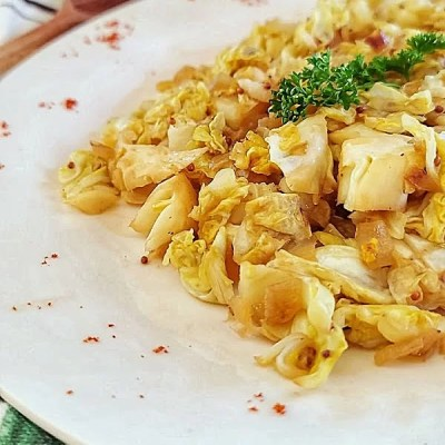 Mustard Caraway Fried Cabbage