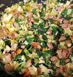One dish Sausage Supper with linguica, spinach, kale, chard, artichoke hearts, other vegetables to make a yummy tasty and healthy meal. Tasty and healthy
