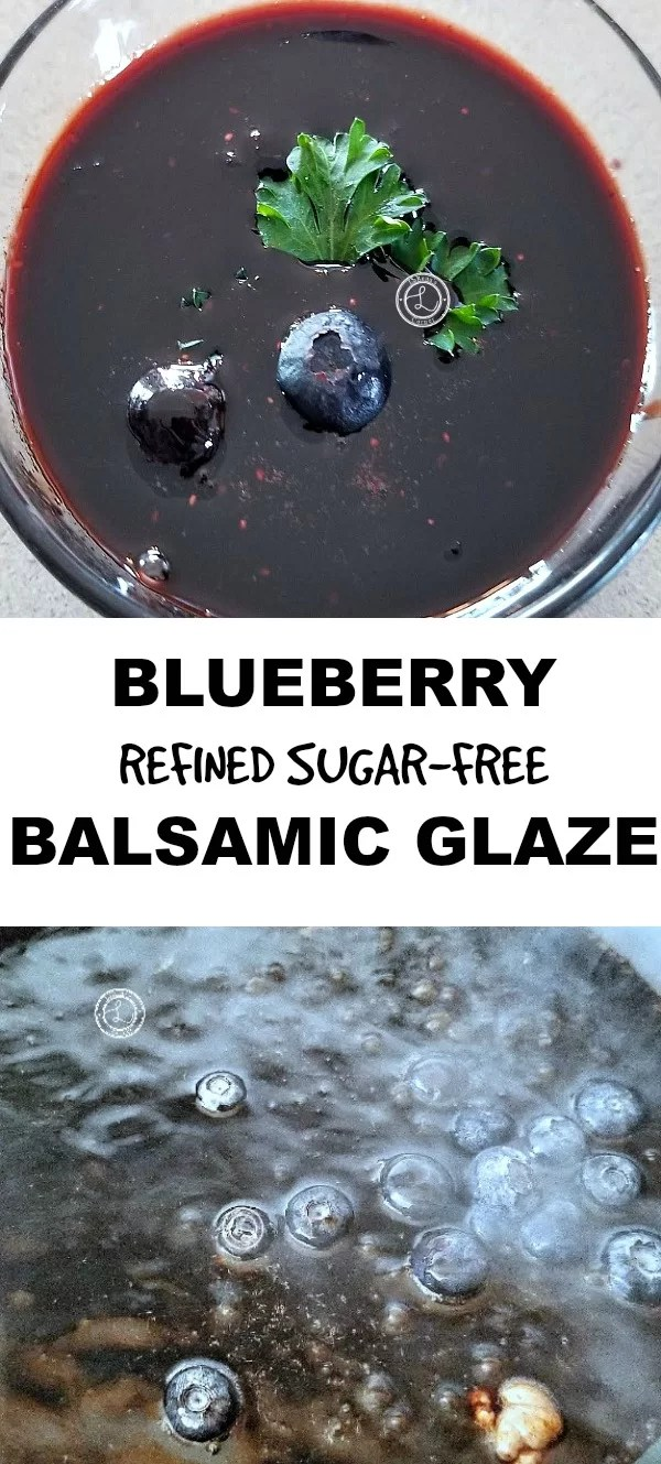 Collage Top: Blueberry Balsamic Glaze Bottom: Boiling the glaze