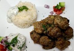 Gluten-Free Greek Turkey Meatballs with cauliflower rice and tzatziki sauce