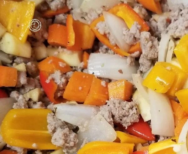 Cooking ground turkey and vegetables