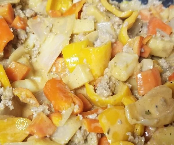 Sauce mixed in with the ground turkey and vegetables