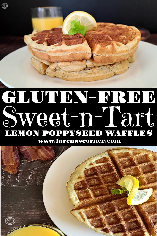 Two Pictures of Gluten-Free Sweet-n-Tart Lemon Waffles