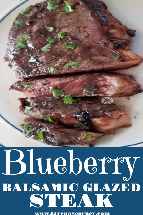 Blueberry Balsamic Steak sliced on a plate