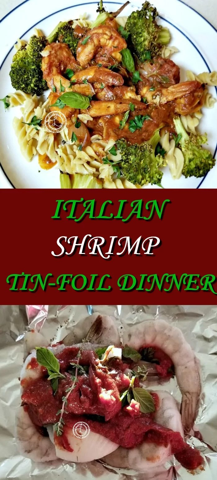 Collage: Top: Cooked Shrimp on top of gluten-free pasta. Bottom: Shrimp, fresh herbs and homemade sauce