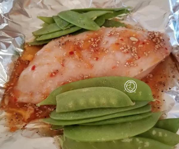Chicken with Orange Sesame Sauce and snow peas