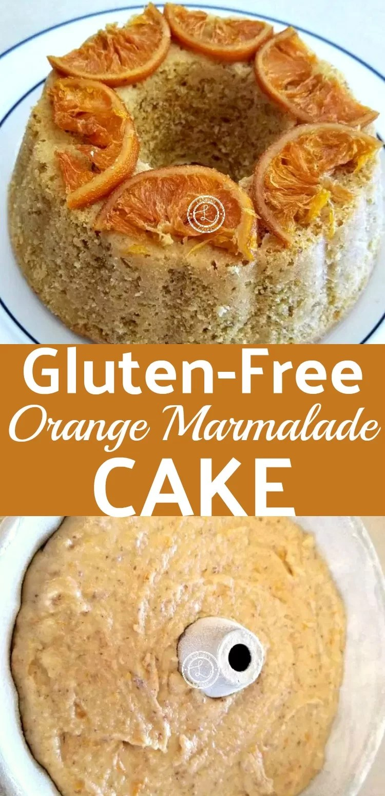 Gluten-Free Orange Marmalade Cake batter and cooked cake with candied orange slices