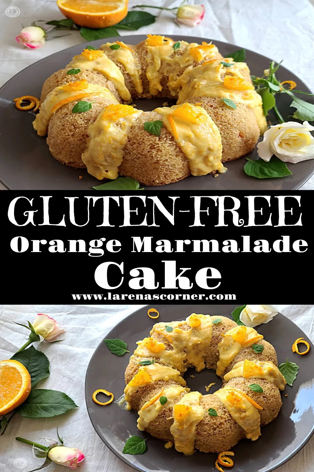 Two different angled pictures of Gluten-Free Orange Marmalade Cake