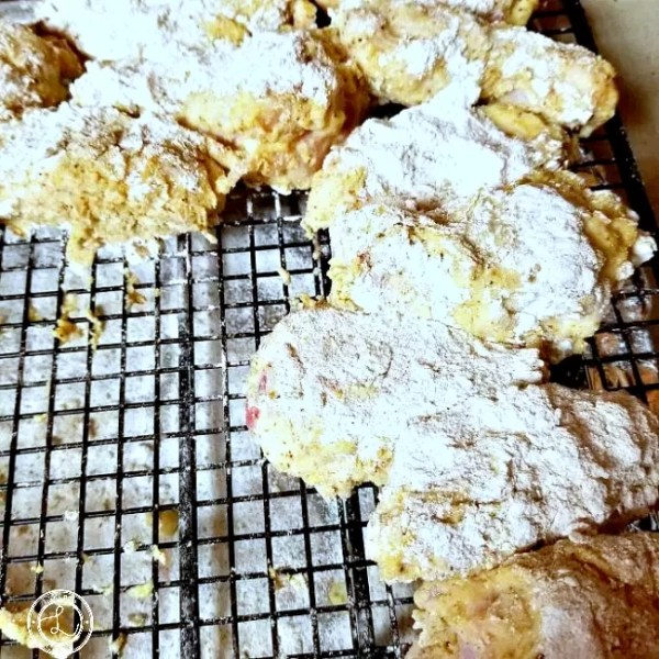 Double dipped in flour, egg, and coconut buttermilk