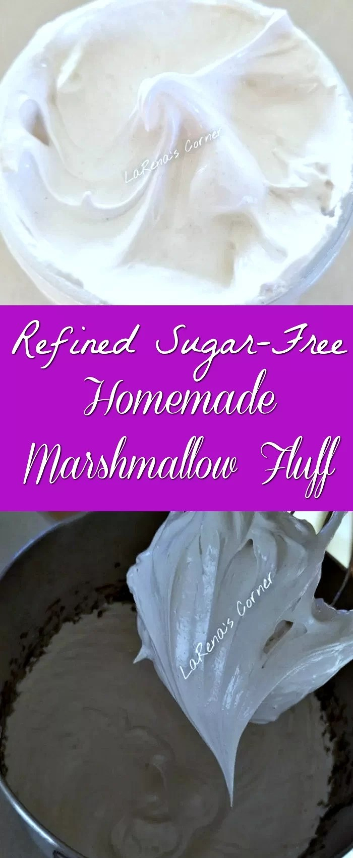 Top: Refined Sugar-Free Homemade Marshmallow Fluff. Bottom: Whipping the marshmallow fluff.