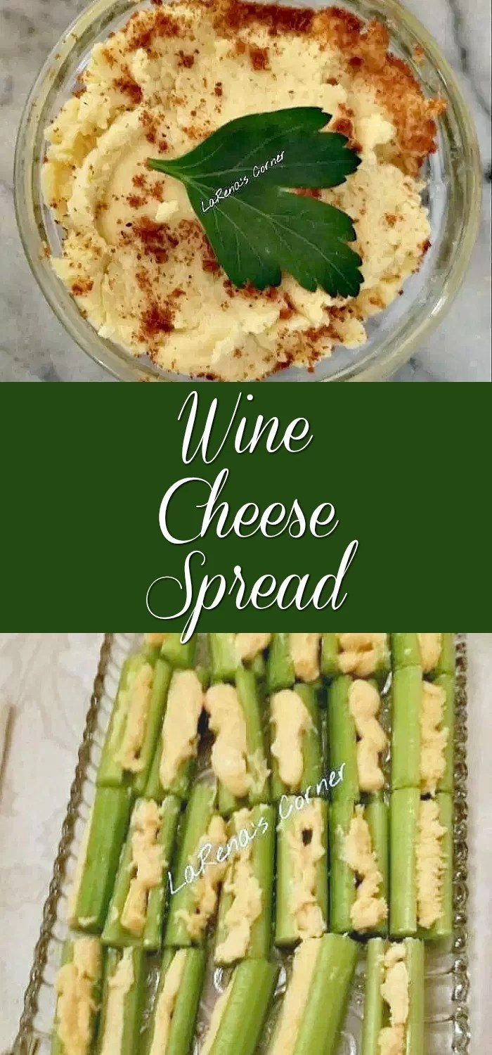 Collage: Top: Wine Cheese Spread. Bottom. Wine cheese spread inside celery