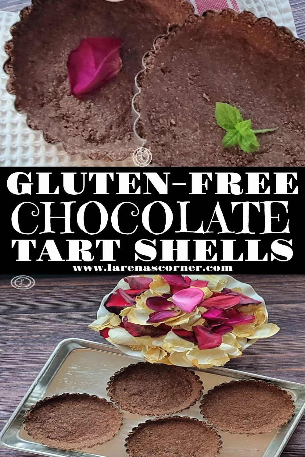Gluten-Free Chocolate Tart Shells collage with two pictures.