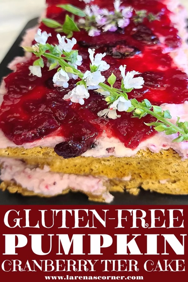 Gluten-Free Pumpkin Cranberry Tier Cake on a plate