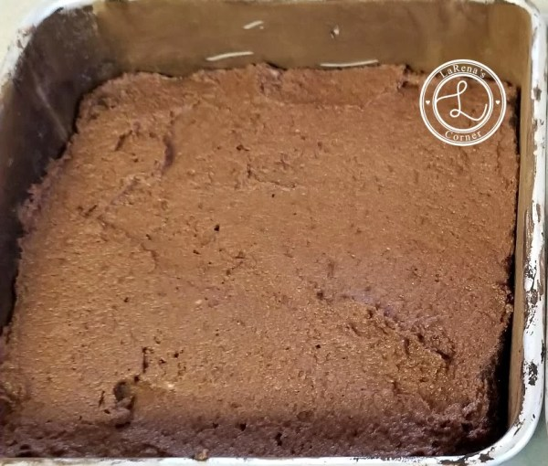 Flattened and spread out batter in cake pan