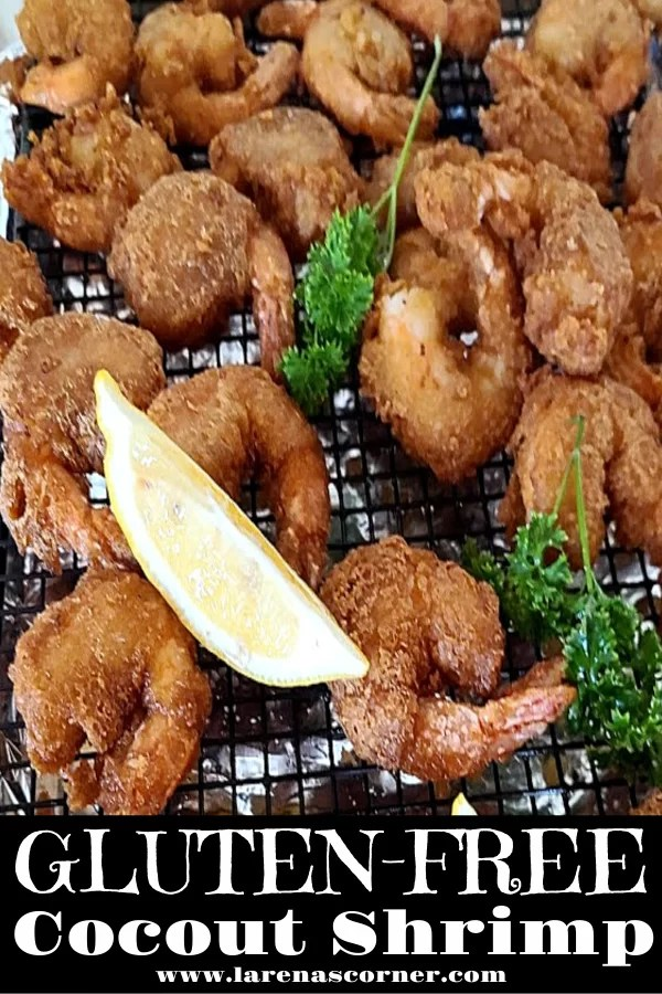 A picture of the fried shrimp sitting on a wire rack