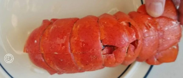 Lobster Tail with a cut down its back