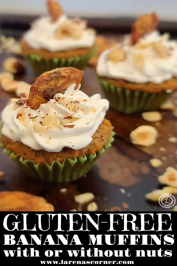 A close up of a Gluten-Free Mini Muffins topped with cinnamon whipped cream, chopped hazelnuts, and a cinnamon banana chip.