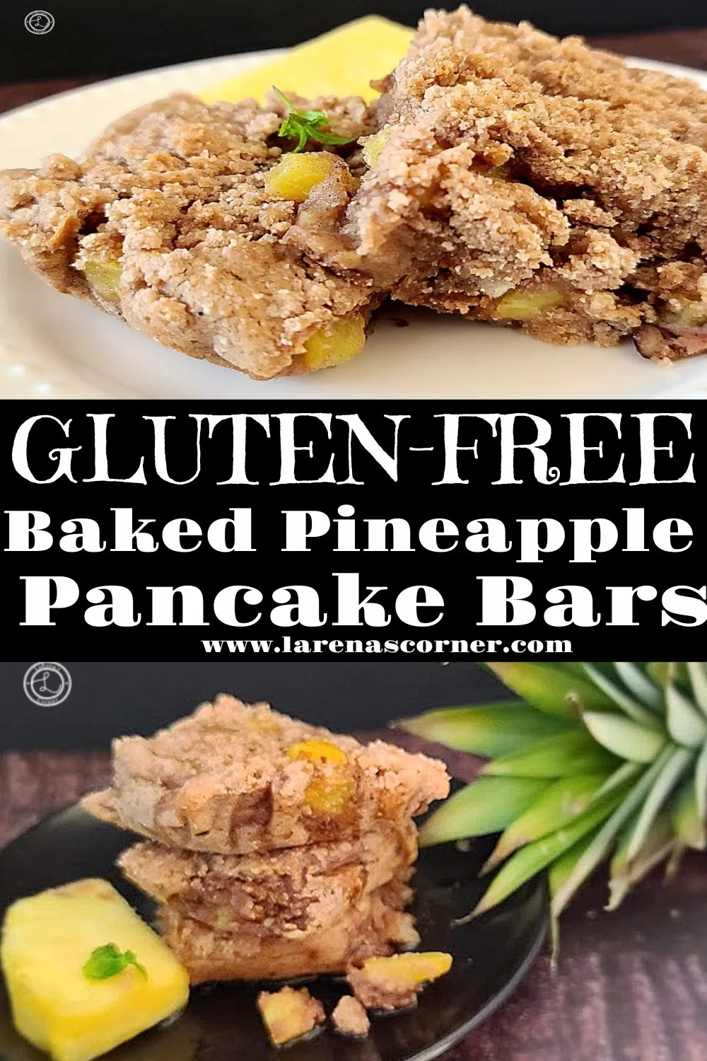 Two Pictures of Gluten-Free Pineapple Pancake Bars